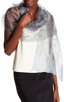 Saachi Silver Embroidered Paisley Silk Wrap