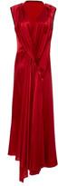 Petar Petrov Aria Asymmetric Draped Silk-Satin Midi Dress