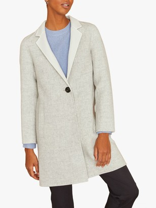 Jigsaw Short Double Face Column Coat, Pale Grey