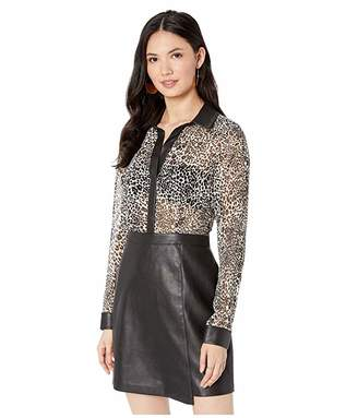 BCBGMAXAZRIA Long Sleeve Printed Dress with Faux Leather Skirt (Optic White Swirling Leopard) Women's Clothing