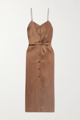 Nanushka Sayan Belted Satin Midi Dress - Brown