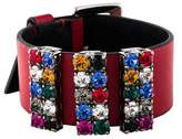Miu Miu Crystal & Leather Wrap Bracelet
