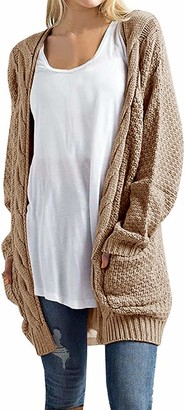 Imily Bela Women's Boho Long Sleeve Open Front Chunky Warm Cardigans Pointelle Pullover Sweater Blouses - beige - Large