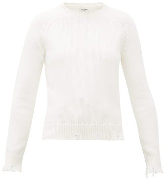 Saint Laurent Laddered-edge Cotton Sweater - Womens - White