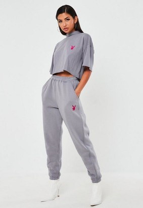 Missguided Playboy X Gray Contrast Piping Oversized Joggers