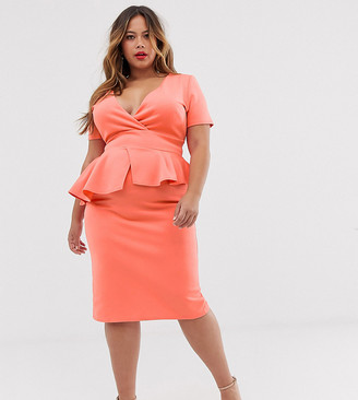 True Violet Plus midi pencil dress with peplum in coral