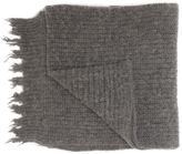 MSGM Grey Wool Fringed Scarf