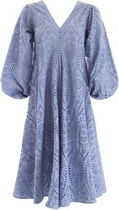 Ganni V-Neck Flared Midi Dress