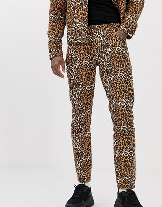 ASOS DESIGN co-ord slim jeans in leopard print