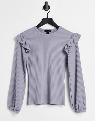 New Look soft rib frill shoulder top in off grey lilac