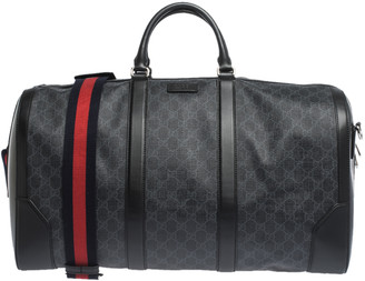 Gucci Black GG Supreme Canvas and Leather Carry On Duffle Bag