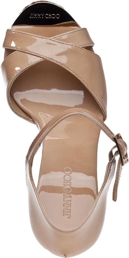Jimmy Choo Pape Wedge Sandal Nude Patent