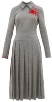 Duncan - Exploding Heart Bead-embellished Wool-blend Dress - Womens - Grey