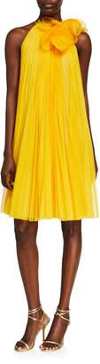 Lela Rose Point d'Esprit Tulle Pleated Halter Dress w/ Flower Detail