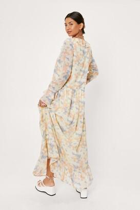 Nasty Gal Womens Abstract Print Ruffle Detail Maxi Smock Dress - Yellow - 4