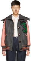 Miu Miu Pink and Grey Oversized Bomber Jacket