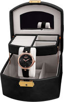 Burgi Womens Diamond Accent Rose-Tone & Black Strap Watch and Jewelry Box Set