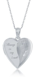 La Preciosa Sterling Silver High Polish Designed Paw Prints Always in My Heart Locket 18?? Pendant Necklace