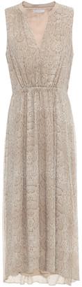 Joie Hilarie Layered Gathered Snake-print Silk-crepon Midi Dress