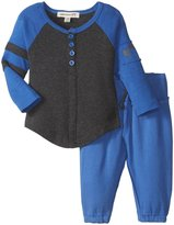 Appaman Baseball Henley Sweats Set (Baby) - Classic Blue - 6-12 Months