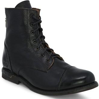 Bed Stu Leather Lace-Up Combat Boots - Laurel