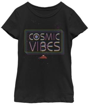 Fifth Sun Marvel Big Girl's Captain Marvel Cosmic Vibes Galaxy Neon Short Sleeve T-Shirt