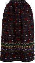 Oscar de la Renta Embroidered Midi Skirt