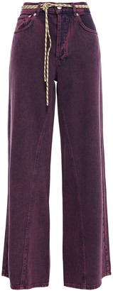 Ganni Belted Faded High-rise Wide-leg Jeans
