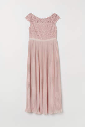 H&M H&M+ Pleated Long Dress - Pink