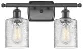 clear Innovations Lighting Cobbleskill 2-Light Bath Fixture, Ripple Glass, Oil Rubbed Bronz