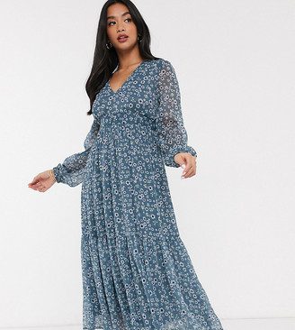 Vila pleated midi dress in blue ditsy floral