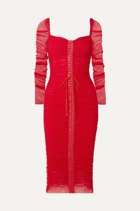 Dolce & Gabbana Lace-up Silk-trimmed Ruched Tulle Midi Dress - Red