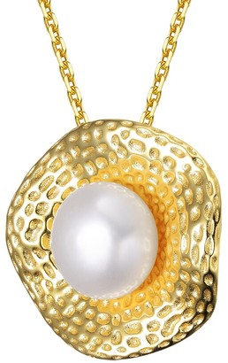 Genevive 14K Over Silver Pearl Pendant Necklace