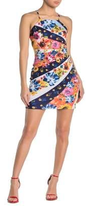 GUESS Floral Stripe Halter Sheath Dress