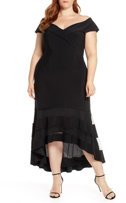 Xscape Evenings Off the Shoulder High/Low Cocktail Dress