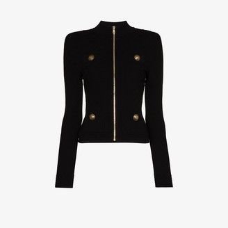 Balmain Ribbed Knit Fitted Jacket