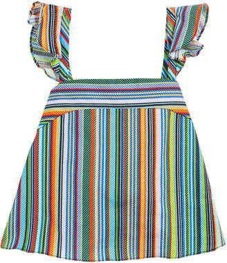 Milly Ren Striped Ruffle Sleeveless Top, Size 7-16