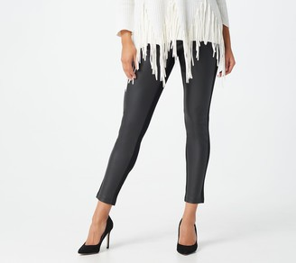 Women With Control Regular Ponte Royale Legging w/ Faux Leather Panel