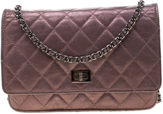 Chanel Metallic Pink Quilted Leather Reissue WOC Clutch Bag