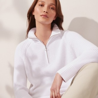 The White Company Cotton Zip Neck Jumper, Porcelain, Medium