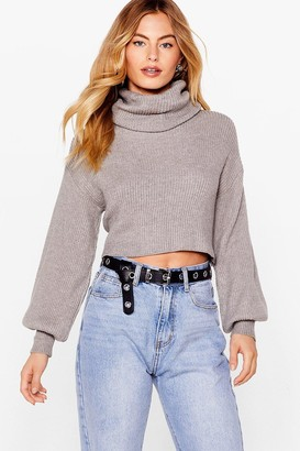 Nasty Gal Womens Puff Sleeve Turtleneck Jumper with Fitted Cuffs - Black - S/M