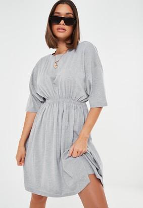 Missguided Tall Grey Cinched Waist Jersey Mini Dress