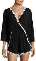 Design Lab Lord & Taylor Pompom Accented Romper