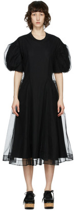 Simone Rocha Black Tulle Overlay Sculpted Dress