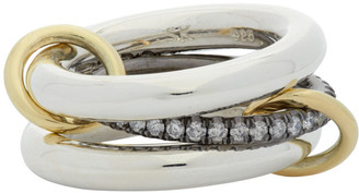 Spinelli Kilcollin Silver and Gold Libra Noir Three-Link Ring