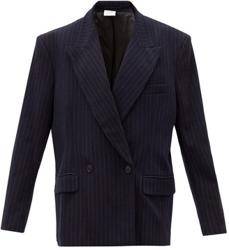Vetements Navy Pinstripe Double Breasted Jersey Jacket