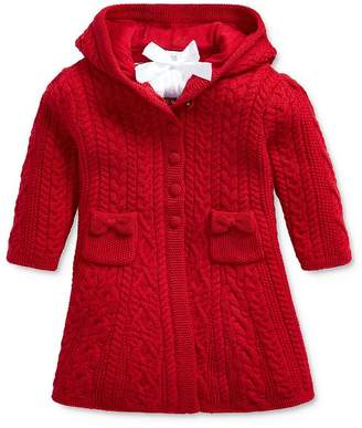 Ralph Lauren Girls' Cable-Knit Hooded Cardigan - Baby