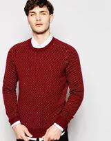 Peter Werth Knitted Crew Neck Jumper With All Over Stitch Pattern - Red