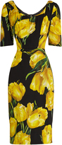 Dolce & Gabbana Tulip-print silk-blend charmeuse midi dress