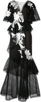 Marchesa floral applique dress